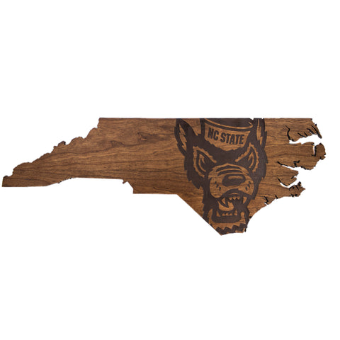 NC State Wolfpack Engraved State Outline Wolfhead Wall Hanging