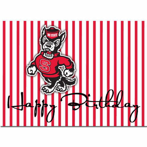 NC State Wolfpack Pinstripe Strutting Wolf Birthday Card