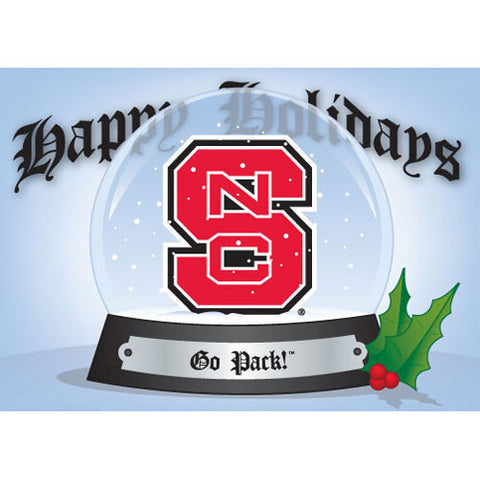NC State Wolfpack Go Pack Snow Globe Holiday Card Pack