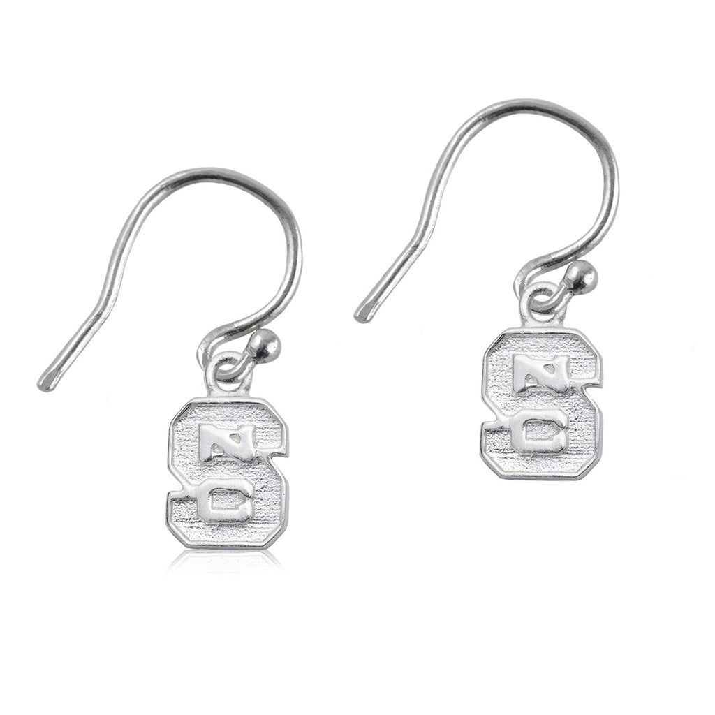 NC State Wolfpack Silver Block S Dangle Earrings