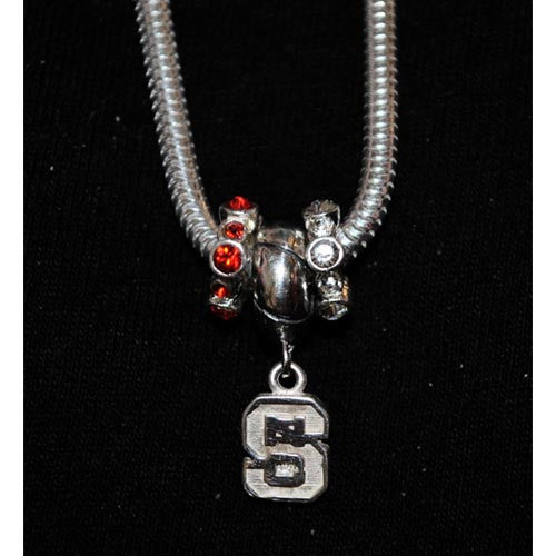NC State Wolfpack Red/White Silver Charm Bead Set