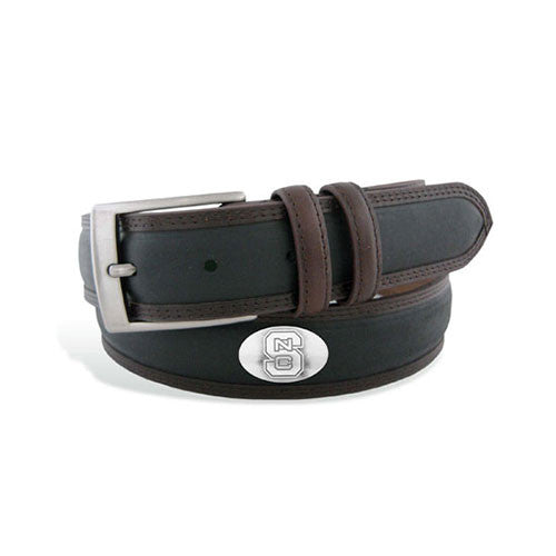 NC State Wolfpack Two Tone Stitch Leather Concho Belt