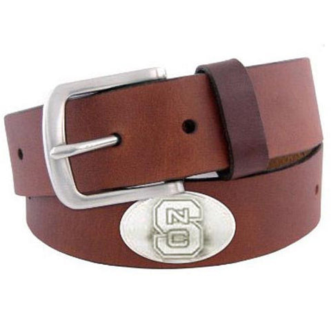 NC State Wolfpack Brown Concho No Tip Leather Belt