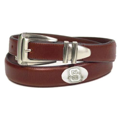 NC State Wolfpack Brown Concho Tip Leather Belt