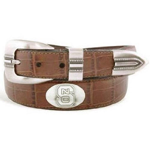 NC State Wolfpack Tan Crocodile Tip Leather Concho Belt