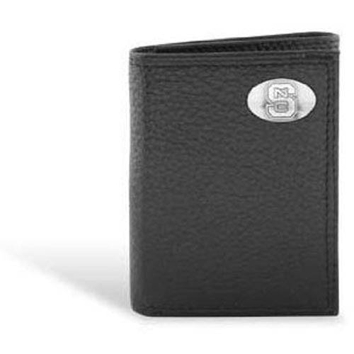 NC State Wolfpack Leather Pebble Black Bifold Wallet