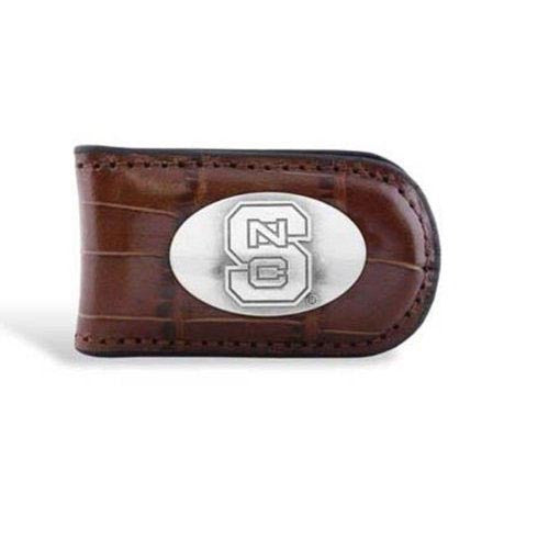 NC State Wolfpack Brown Leather Magnetic Money Clip