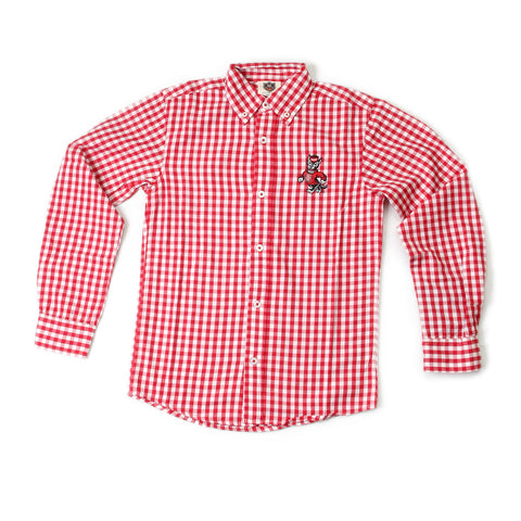North Carolina State Wolfpack Youth Gingham Dress Shirt