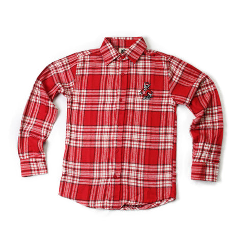 NC State Wolfpack Youth Red Brushed Plaid Long Sleeve Shirt