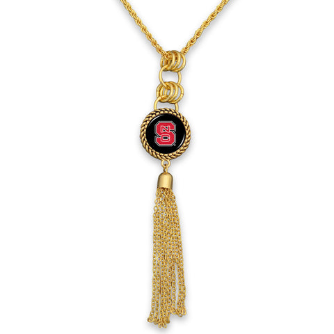 NC State Wolfpack Women's Gold Tassel Necklace