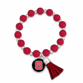 NC State Wolfpack Silicone Tassle Beaded Stretch Bracelet