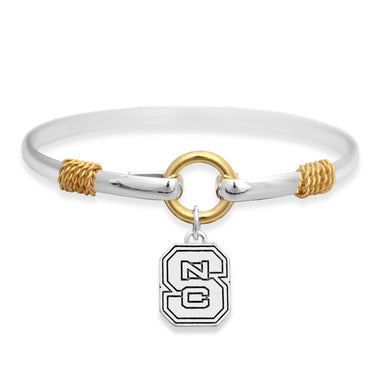 NC State Wolfpack Two-Tone Rope Block S Bracelet