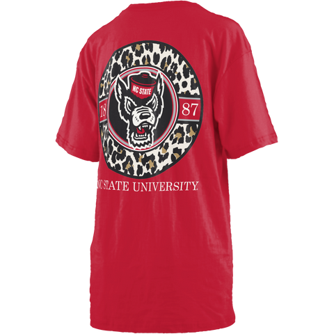 NC State Wolfpack Women's Red Leopard Circle V-Neck T-Shirt