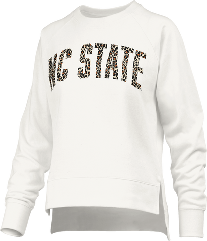 NC State Wolfpack Women's Ivory Houston Cheetah NC State French Terry Top