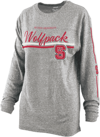 NC State Wolfpack Women's Heather Grey Line Drive Knobi Long Sleeve T-Shirt