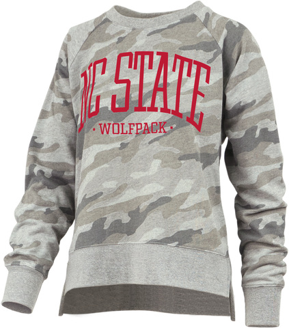 NC State Wolfpack Women's Camo Oakland French Terry Crewneck Sweatshirt