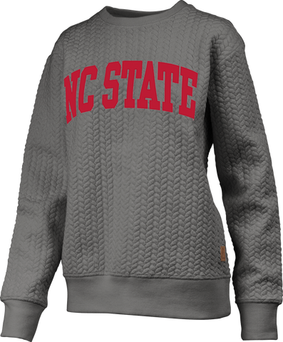 NC State Wolfpack Women's Heather Grey Banner Elk Crewneck Sweatshirt