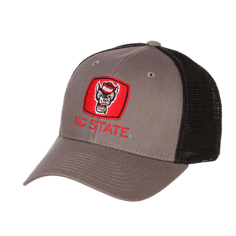 NC State Wolfpack Balck and Grey Big Rig Wolfhead Adjustable Hat