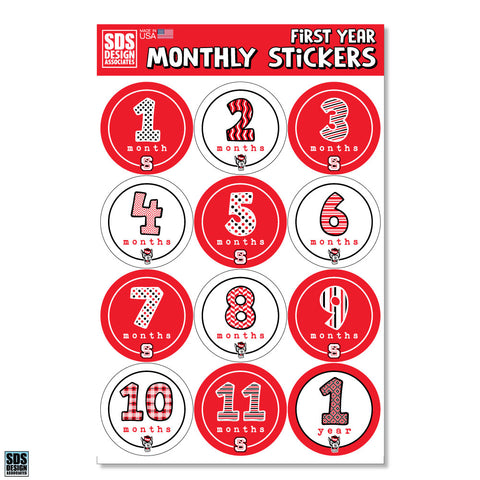 NC State Wolfpack Baby's First Year Sticker Pack