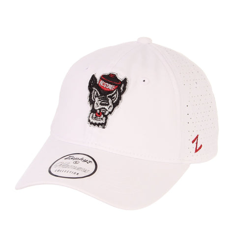 NC State Wolfpack Women's White Wolfhead Envy Adjustable Hat
