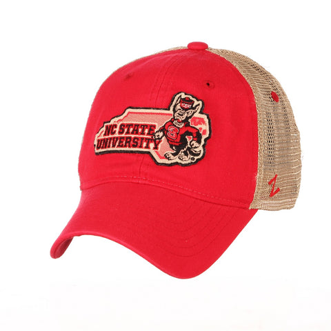 NC State Wolfpack Zephyr Red and Khaki Heartland Strutting Wolf Adjustable Hat