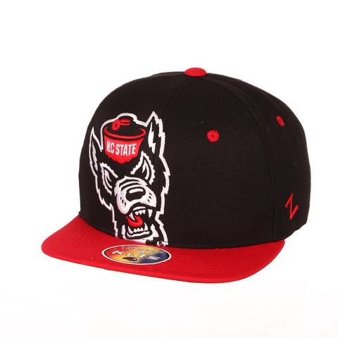 NC State Wolfpack Zephyr Youth Red and Black Hooligan Wolfhead Flat Bill Snapback Hat