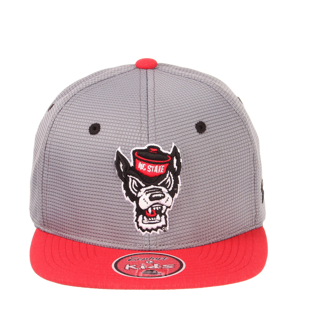 4ccc1195be3 NC State Wolfpack Zephyr Youth Grey Helm Wolfhead Snapback Hat – Red ...
