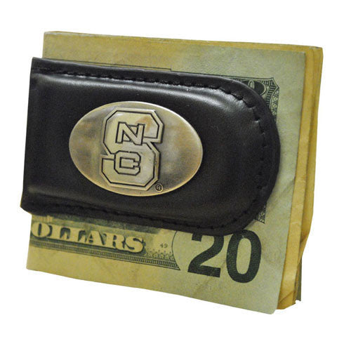 NC State Wolfpack Black Leather Magnetic Money Clip