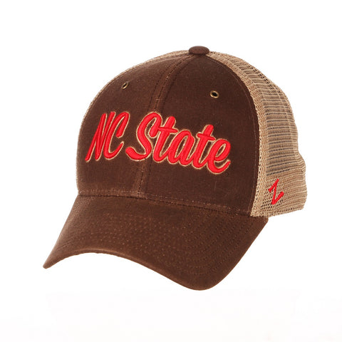 NC State Wolfpack Zephyr Dark Brown and Khaki Mesa Adjustable Hat