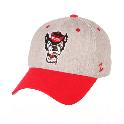 NC State Wolfpack Zephyr Grey and Red Oxford Wolfhead Stretch Hat