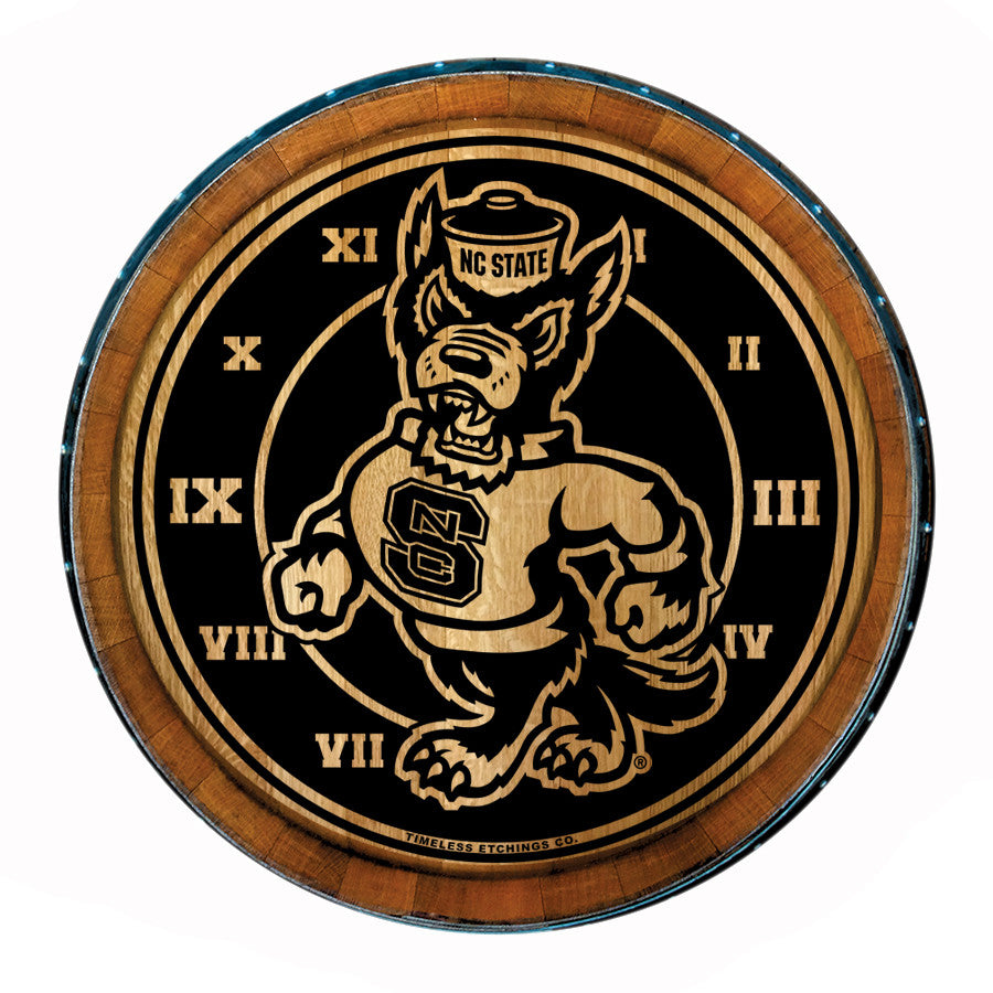 NC State Wolfpack Authentic Barrelhead Strutting Wolf Clock