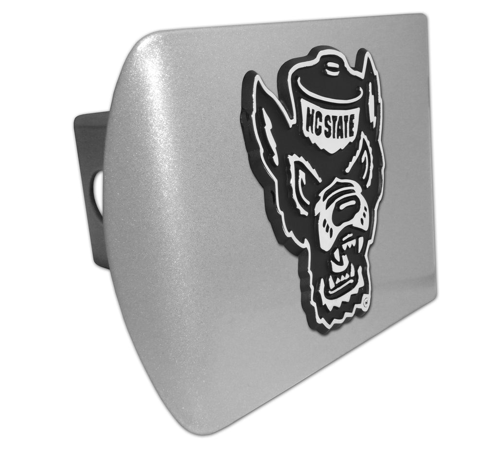 NC State Wolfpack Silver w/ Chrome Wolfhead Hitch Cover