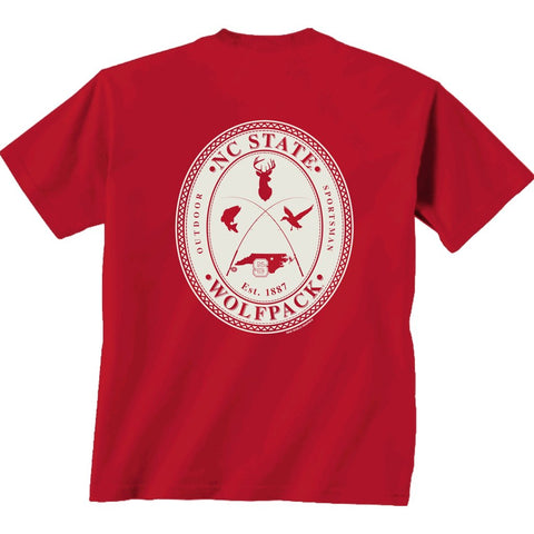 NC State Wolfpack Red Comfort Colors Crossed Oval Field Tested T-Shirt
