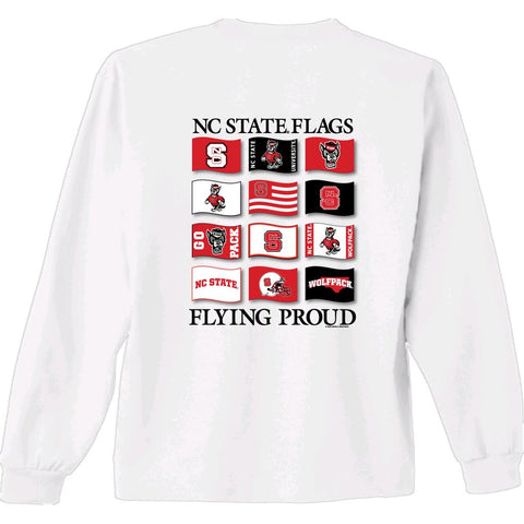 NC State Wolfpack Youth White Flying Proud Long Sleeve T-Shirt
