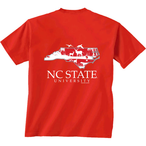 NC State Wolfpack Youth Red Sportsman State T-Shirt