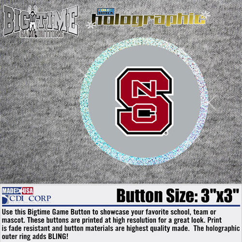 NC State Wolfpack Metalized Block S Button