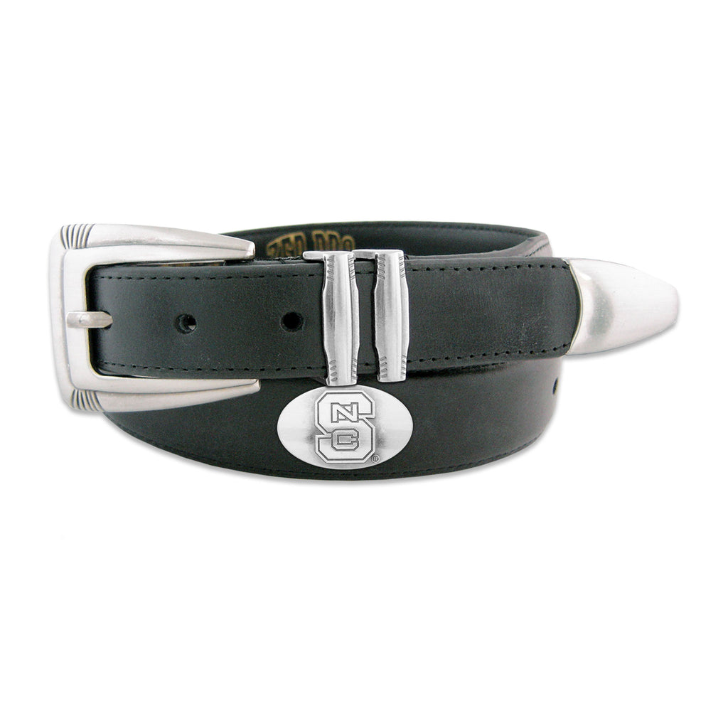 NC State Wolfpack Black Concho Tip Leather Belt
