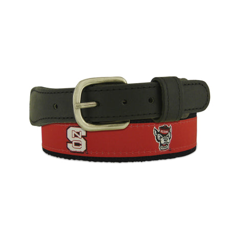 NC State Wolfpack Youth Red and Black Block S and Wolfhead Belt
