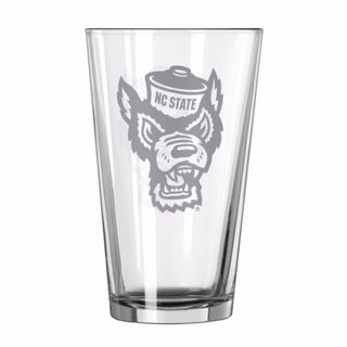 NC State Wolfpack 16oz. Satin Etch Wolfhead Pint Glass