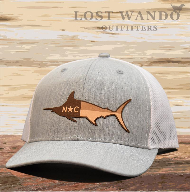 Heathered Grey and White North Carolina Marlin Adjustable Mesh Hat
