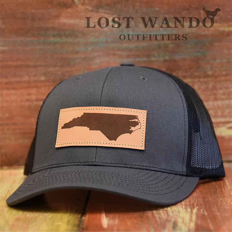 Black and Charcoal State of North Carolina Rectangle Outline Adjustable Mesh Hat