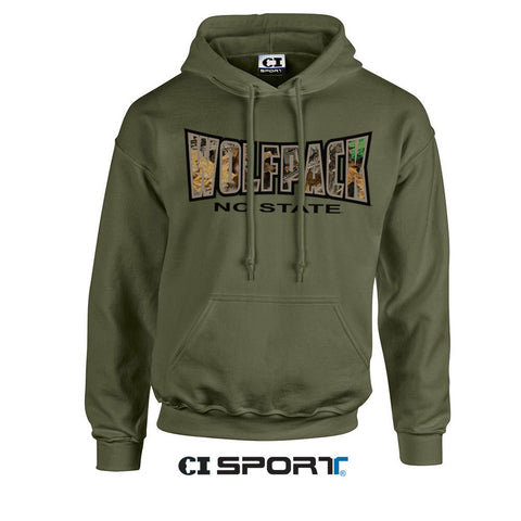 NC State Wolfpack Military Green Camo Hooded Sweatshirt