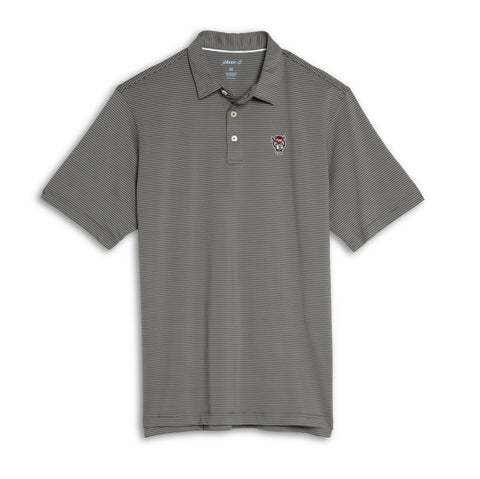 NC State Wolfpack Johnnie-O Grey and White Striped Wolfhead Albatross Polo