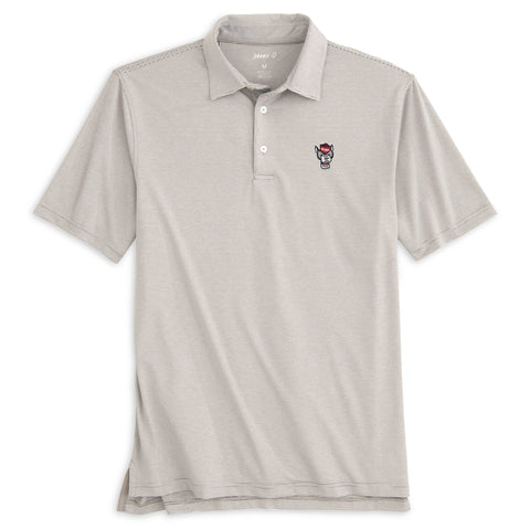 NC State Wolfpack Johnnie-O Grey and White Striped Wolfhead Lyndon Polo