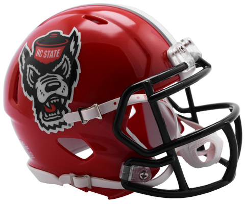 NC State Wolfpack Riddell Red Wolfhead Replica Speed Football Helmet