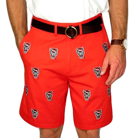 NC State Wolfpack Pennington & Bailes Men's Red Wolfhead Stadium Shorts