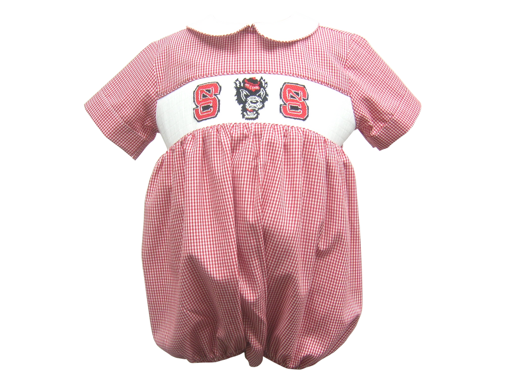 NC State Wolfpack Infant Boys Hand Smocked Bubble