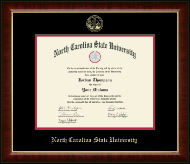 NC State Wolfpack Gold Embossed Murano Diploma Frame