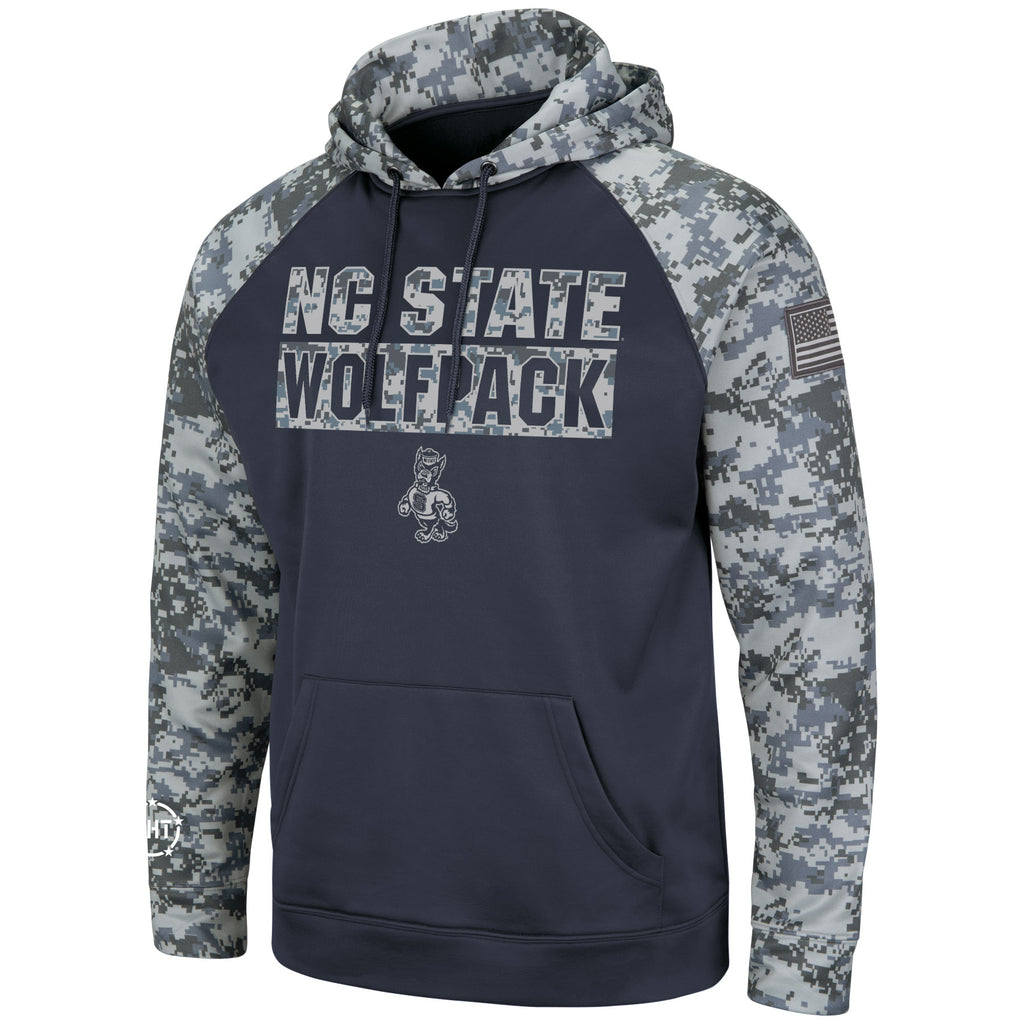 NC State Wolfpack Charcoal and Camo OHT Strutting Wolf Hooded Sweatshirt