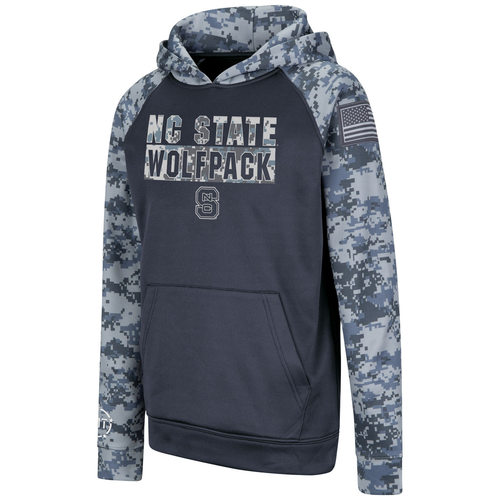 NC State Wolfpack Youth Charcoal and Camo OHT Block S Hooded Sweatshirt